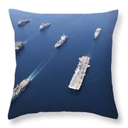 Amphibious Task Force-west In Formation Throw Pillow by Stocktrek Images