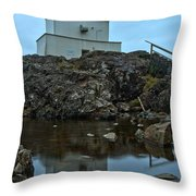 Amphitrite Point Lighthouse Reflections Throw Pillow