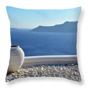 Amphora In Santorini, Greece Throw Pillow