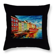 Amsterdam - City Dock Throw Pillow