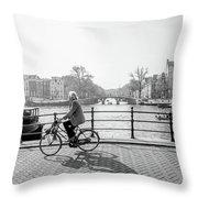 Amsterdam Bike Ride Throw Pillow