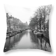 Amsterdam Canal Black And White 2 Throw Pillow