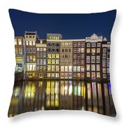 Amsterdam Canal Houses At Night Throw Pillow