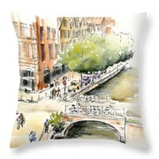 Amsterdam Canal Watercolor Throw Pillow