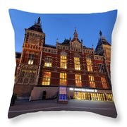 Amsterdam Central Station Throw Pillow