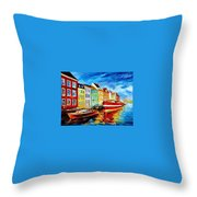 Amsterdam-city Dock - Palette Knife Oil Painting On Canvas By Leonid Afremov Throw Pillow