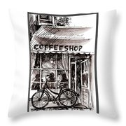 Amsterdam Coffe Shop Black And White Throw Pillow