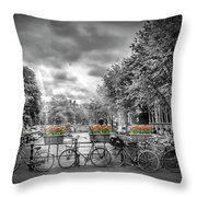 Amsterdam Gentlemens Canal Typical Cityscape Throw Pillow