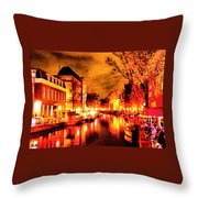 Amsterdam Night Life L A S Throw Pillow