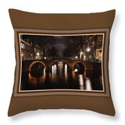Amsterdam - Night Life L B With Decorative Ornate Printed Frame. Throw Pillow