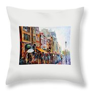 Amsterdam Rain - Palette Knife Oil Painting On Canvas By Leonid Afremov Throw Pillow