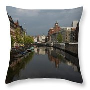 Amsterdam - Singel Canal With The Floating Flower Market Throw Pillow
