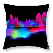 Amsterdam Skyline - Pink Blue Throw Pillow