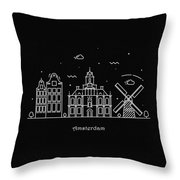 Amsterdam Skyline Travel Poster Throw Pillow