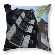 Amsterdam Spring - Arched Windows And Shutters - Right Throw Pillow