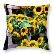 Amsterdam Sunflowers Throw Pillow