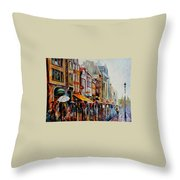 Amsterdam's Rain Throw Pillow