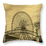 Amusement Park Vintage Throw Pillow