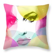 Amy Portrait Pink Yellow  Throw Pillow