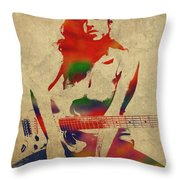 Amy Winehouse Watercolor Portrait Throw Pillow
