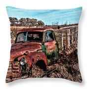 An Abandoned Truck Throw Pillow