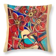 An Abstract Floral Throw Pillow