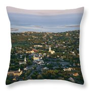 An Aerial View Of Chatham Throw Pillow by Michael Melford