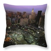 An Aerial View Of Ground Zero Throw Pillow by Ira Block