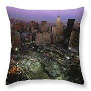 An Aerial View Of Ground Zero Throw Pillow