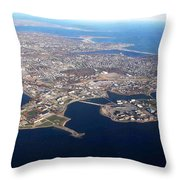 An Aerial View Of Naval Station Newport Throw Pillow