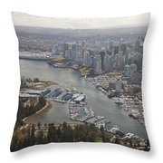An Aerial View Of The City Of Vancouver Throw Pillow by Taylor S. Kennedy