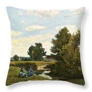 An Afternoon Along The Loing Near Saint-prive Throw Pillow