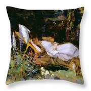 An Afternoon Nap Throw Pillow by Harry Mitten Wilson