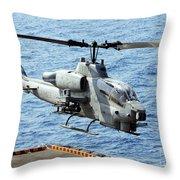An Ah-1w Super Cobra Helicopter Throw Pillow