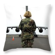 An Airfield Manager Greets An Arriving Throw Pillow