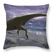 An Albino Carnotaurus Surprising Throw Pillow