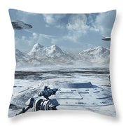 An Alien Base Located In The Antarctic Throw Pillow