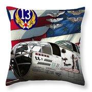 An American B-25c Pof Throw Pillow