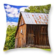 An American Barn 2 Painted Throw Pillow