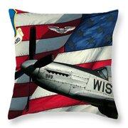 An American F-51 Ang Throw Pillow