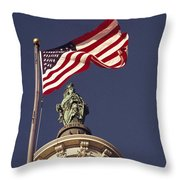 An American Flag And The Statue Throw Pillow