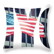 An American Flag In New York. Throw Pillow