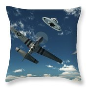 An American P-51 Mustang Gives Chase Throw Pillow by Mark Stevenson