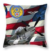 An American P-51d Pof Throw Pillow