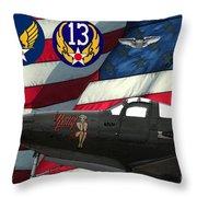 An American P-63 Pof Throw Pillow