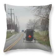 An Amish Buggy In April Throw Pillow