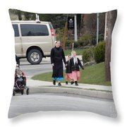 An Amish Family Going For A Walk Throw Pillow