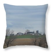 An Amish Field Ready For Planting Throw Pillow