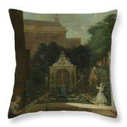 An Amsterdam Canal House Garden, 1745 Throw Pillow