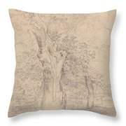 An Ancient Tree With Figures In A Landscape Throw Pillow